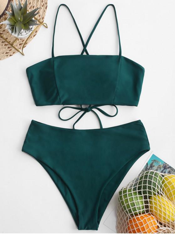 outfit ZAFUL Crisscross Lace-up High Waisted Bikini Swimsuit - PEACOCK BLUE L