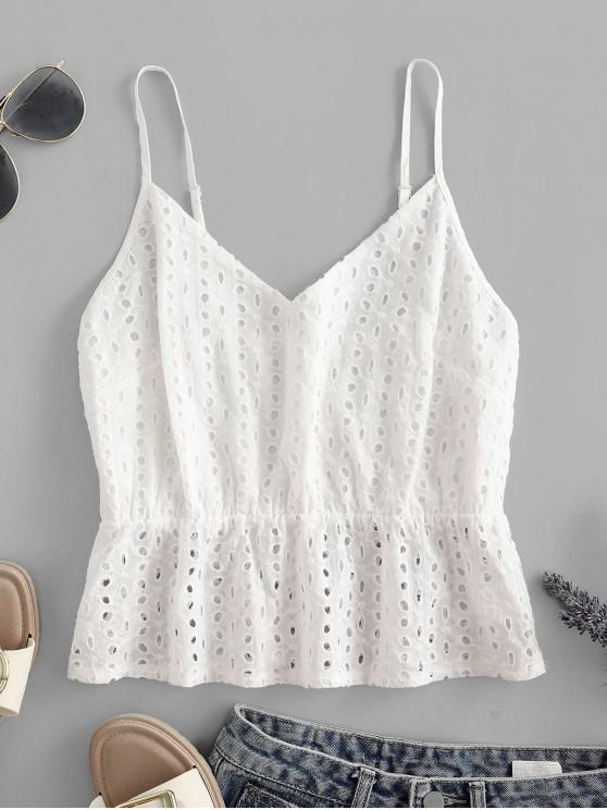 outfits ZAFUL Eyelet Crop Cami Top - MILK WHITE XL