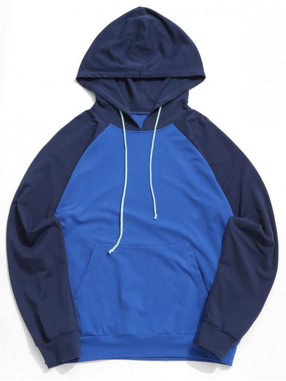 Felpa da baseball con cappuccio e tasca a marsupio ZAFUL bicolore - Cadetblue XL