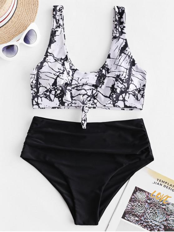 womens ZAFUL Marble Print Knotted Tummy Control Tankini Swimwear - MULTI-A M