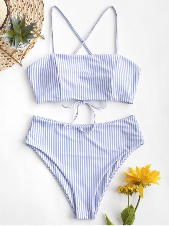 fancy ZAFUL Lace-up Striped High Waisted Bikini Swimsuit - SEA BLUE S