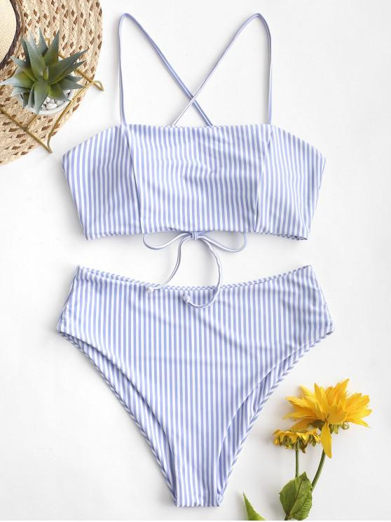 online ZAFUL Lace-up Striped High Waisted Bikini Swimsuit - SEA BLUE M