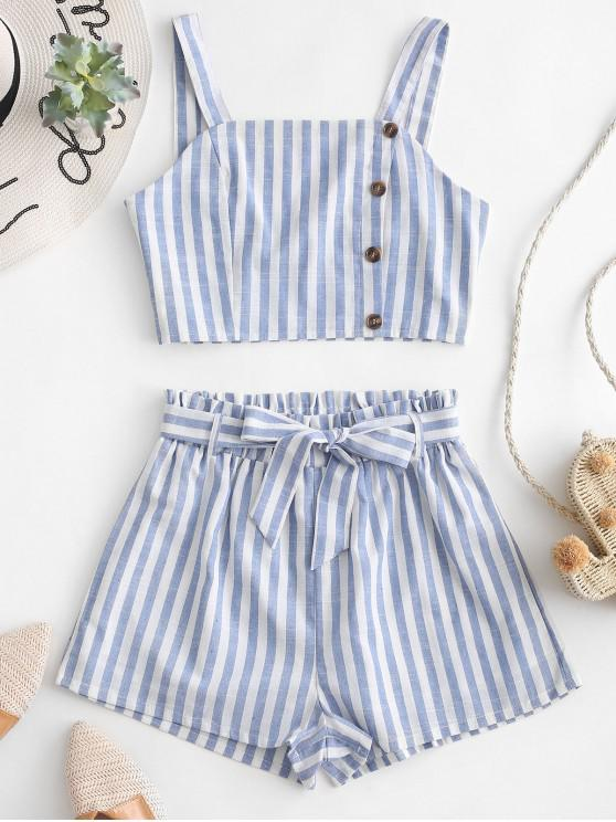 hot Buttons Striped Belted Loose Two Pieces Suit - LIGHT BLUE XL