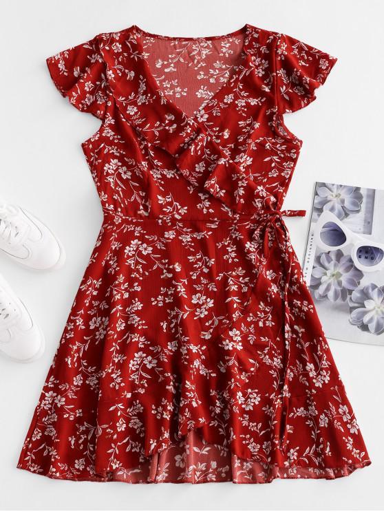 Асимметричное Платье Цветочный принт - Каштановый красный S