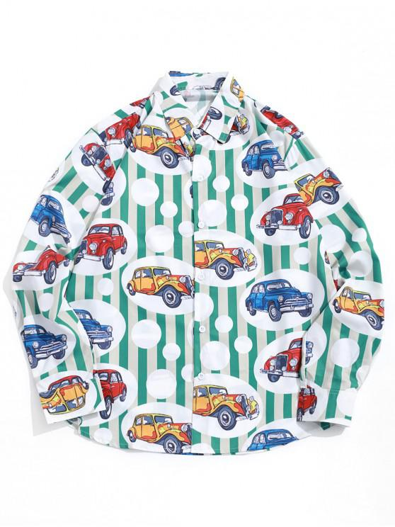 fashion Geometric Car Stripes Graphic Print Shirt - MULTI XL