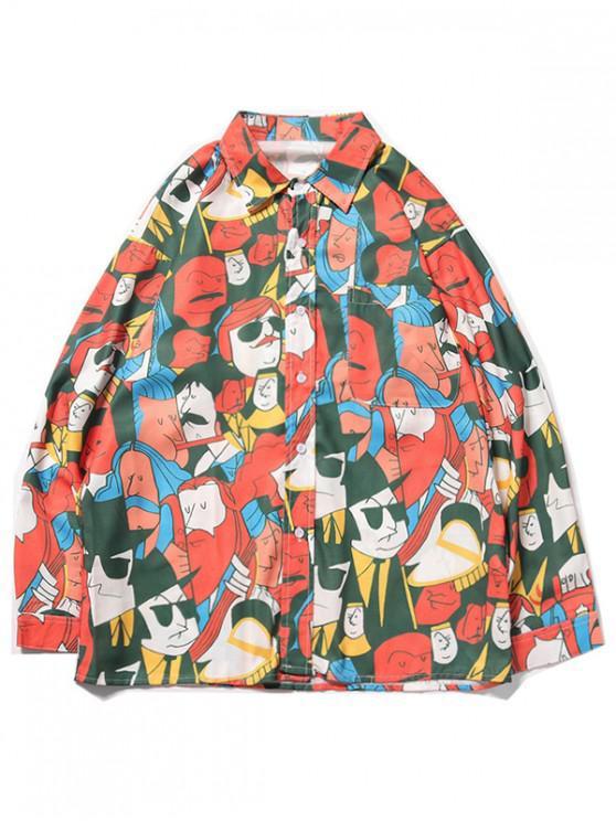 chic Cartoon Character Figure Print Chest Pocket Casual Shirt - PAPAYA ORANGE S