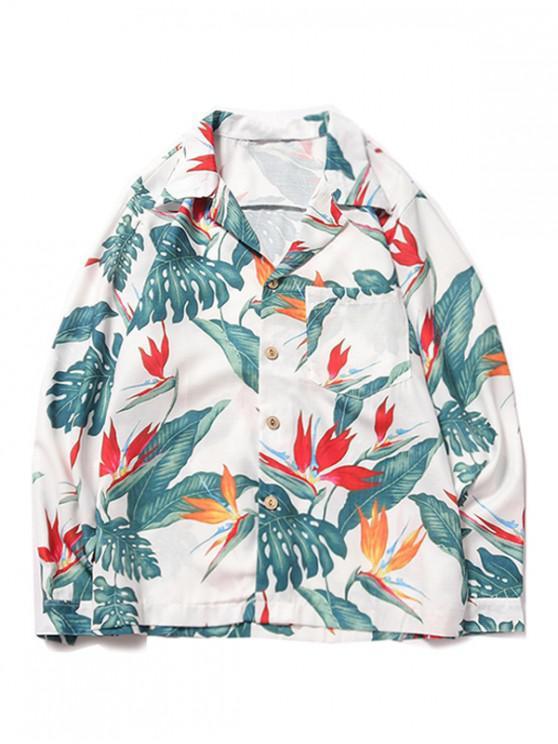 women Tropical Plant Flower Print Chest Pocket Hawaii Beach Shirt - WHITE S