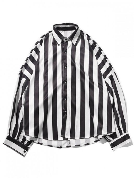 buy High Low Colorblock Striped Print Drop Shoulder Casual Shirt - MULTI-A 2XL