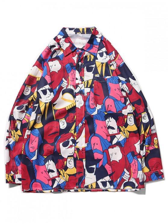 online Cartoon Character Figure Print Chest Pocket Casual Shirt - NEON PINK L