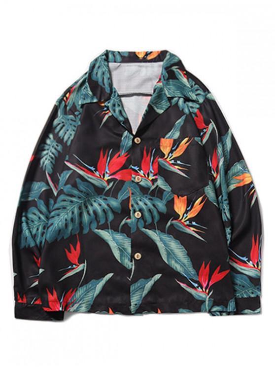 new Tropical Plant Flower Print Chest Pocket Hawaii Beach Shirt - BLACK XL