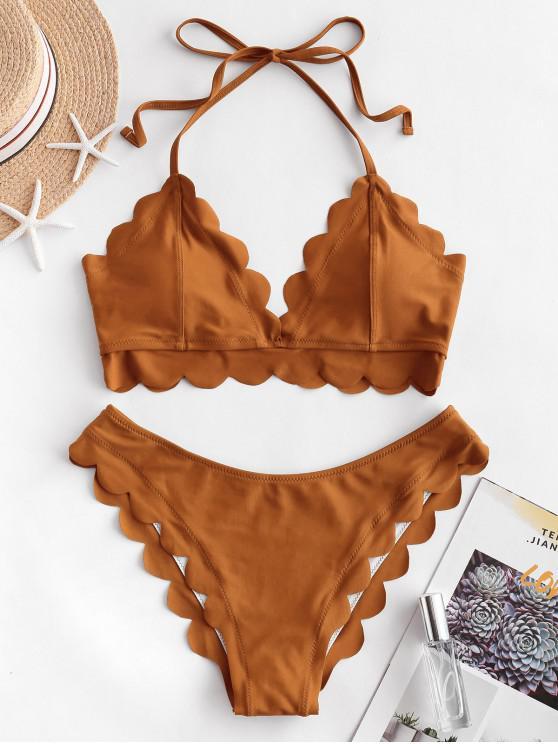 Costume da bagno bikini smerlato halter ZAFUL - Giallo d'oro M