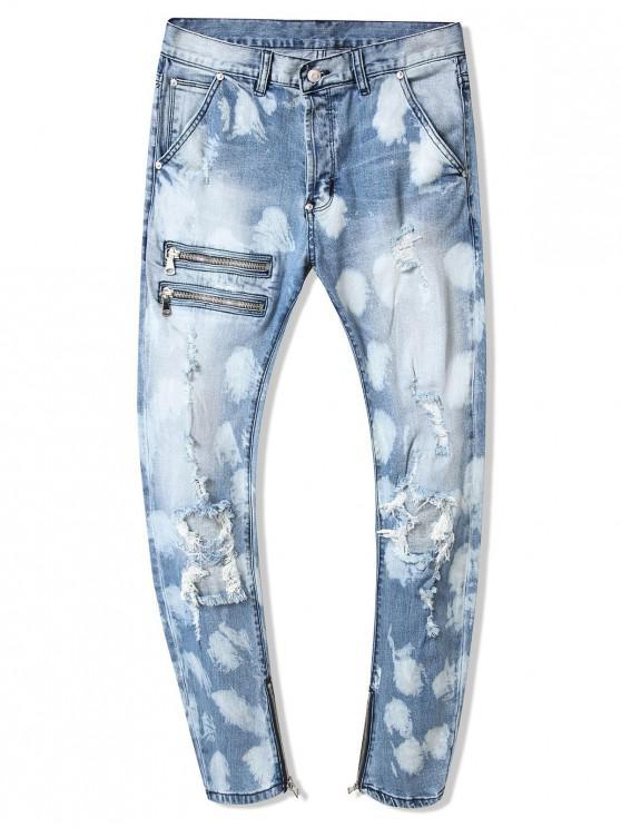 buy Zipper Destroy Wash Faded Long Straight Jeans - DENIM BLUE 36