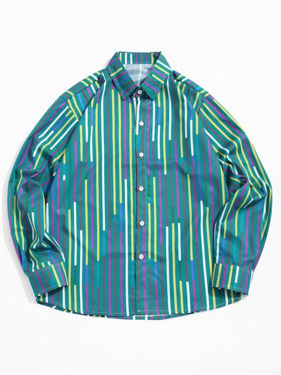 fashion Colorful Splicing Stripes Print Turn Down Collar Button Shirt - GREENISH BLUE L