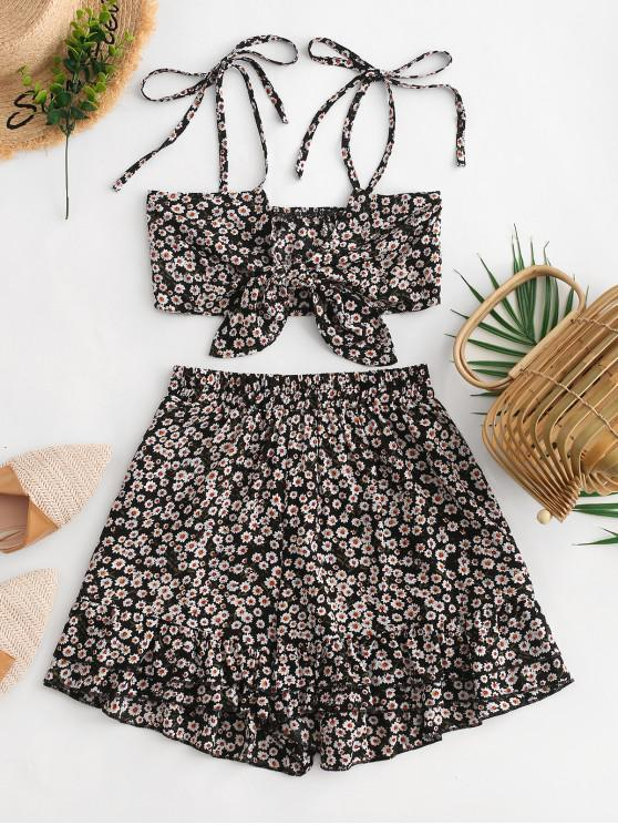 shop Tie Front Tiny Floral Wide Leg Shorts Set - BLACK S