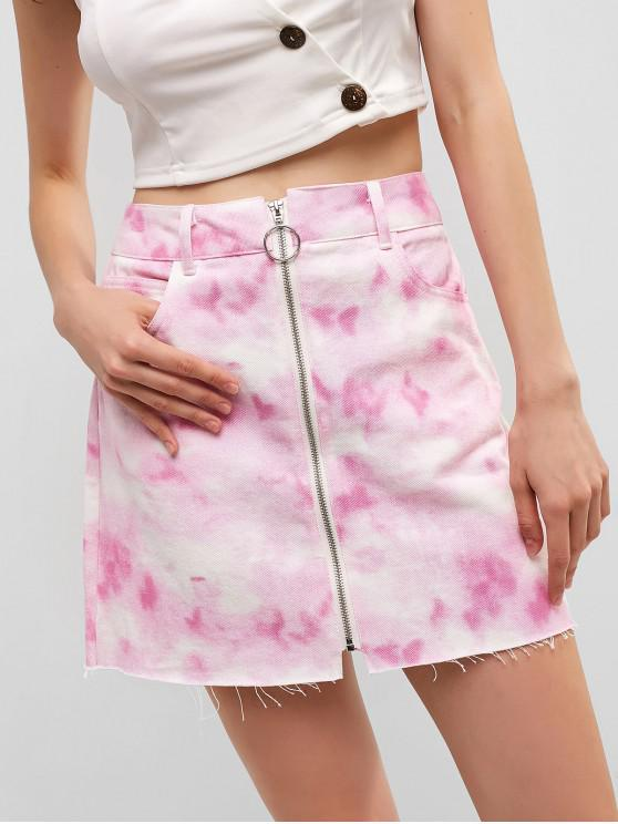 affordable Zip Up Tie Dye Mini Skirt - MULTI-A S