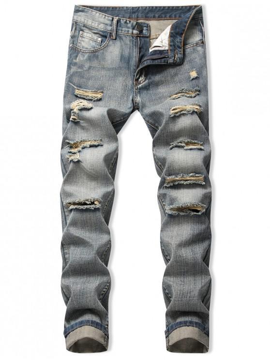 Destroy Wash Casual Jeans rectos largos - Azul Mármol 42
