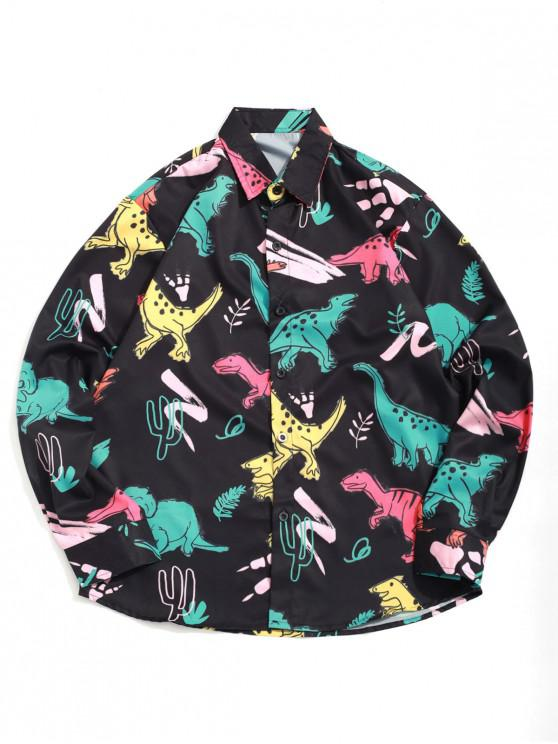 fashion Cartoon Dinosaur Plant Print Long Sleeves Button Shirt - BLACK XL