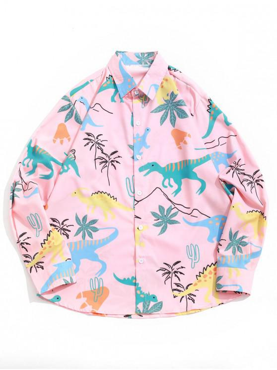 fancy Dinosaur Palm Tree Print Casual Long Sleeves Shirt - DEEP PEACH XL