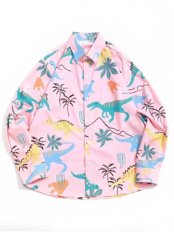 Camisa de manga larga informal con estampado de palmeras de dinosaurio - Color de Melocotón Oscuro 2XL