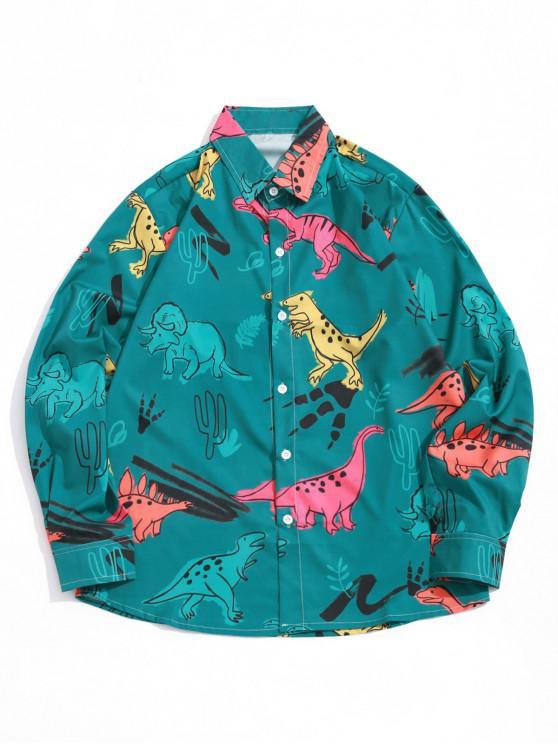 women Cartoon Dinosaur Plant Print Long Sleeves Button Shirt - DARK GREEN 2XL