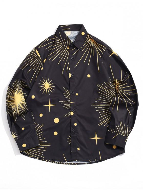 womens Sparkly Sun and Moon Star Dots Print Long Sleeve Shirt - BLACK L