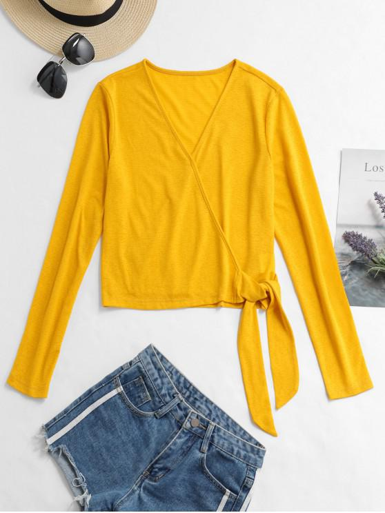 ladies ZAFUL V Neck Solid Knotted Top - BEE YELLOW XL
