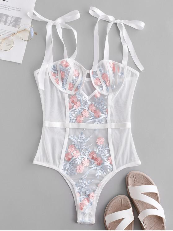 women's Flower Embroidered Cut Out Bralette Lingerie Teddy - MULTI-A L