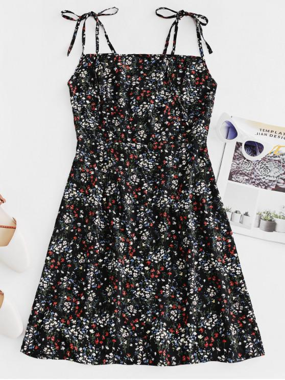 chic Lace Up Ditsy Floral Cami Mini Dress - BLACK M