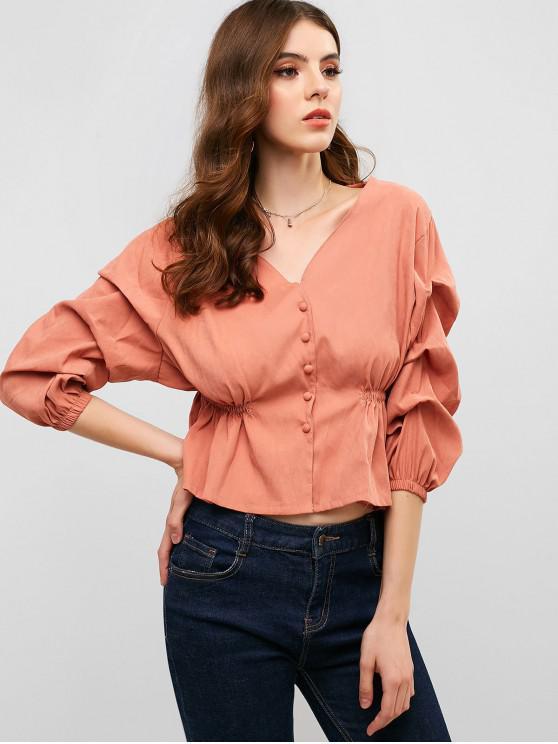 Blusa con cuello en V y botones - Rosa Khaki S