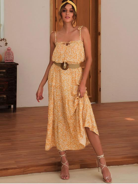 ladies Tied Collar Smocked Ditsy Floral Cami Dress - BEE YELLOW XL