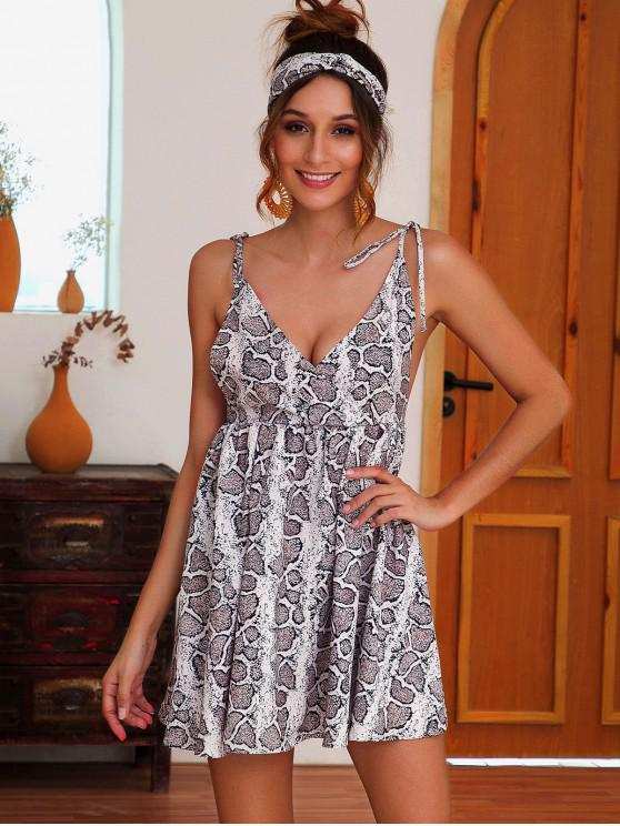 best Open Back Snake Print Surplice Cami Dress - MULTI-A S