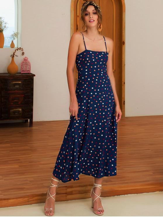 Robe Mi-Longue à Bretelle Colorée à Pois - Bleu M