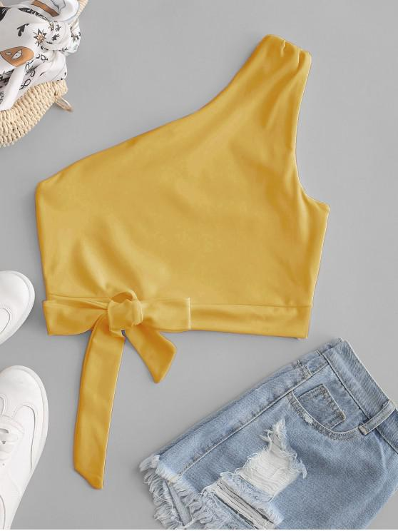 fancy One Shoulder Knotted Crop Tank Top - BEE YELLOW L