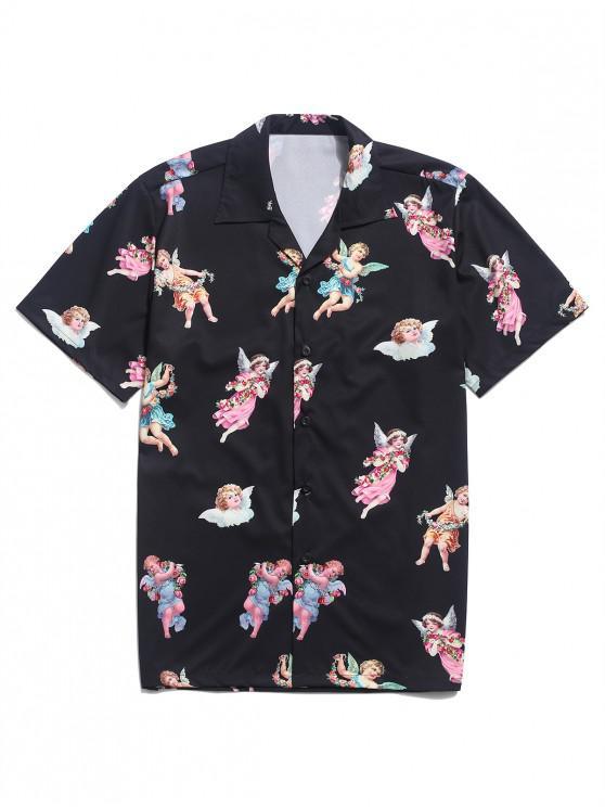 fancy Paradise Floral Angel Print Beach Shirt - BLACK XL