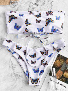 ZAFUL Butterfly Print Lace Up Bandeau Bikini Swimwear - Multi-a M