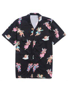 Paradise Floral Angel Print Beach Shirt - Black 2xl