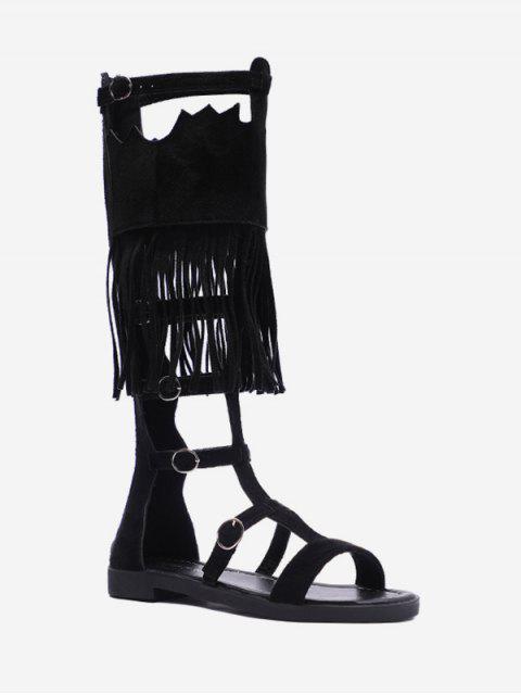 ladies Tassel Hollow Out Decoration Boots - BLACK EU 40 Mobile
