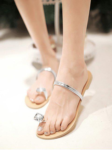 women Faux Gem Design Toe Ring Sandals - SILVER EU 35 Mobile
