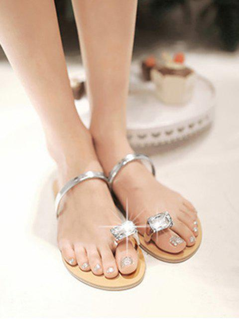 shops Faux Gem Design Toe Ring Sandals - SILVER EU 41 Mobile