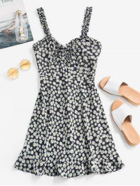 latest Smocked Lace Up Floral Mini Dress - BLACK M Mobile