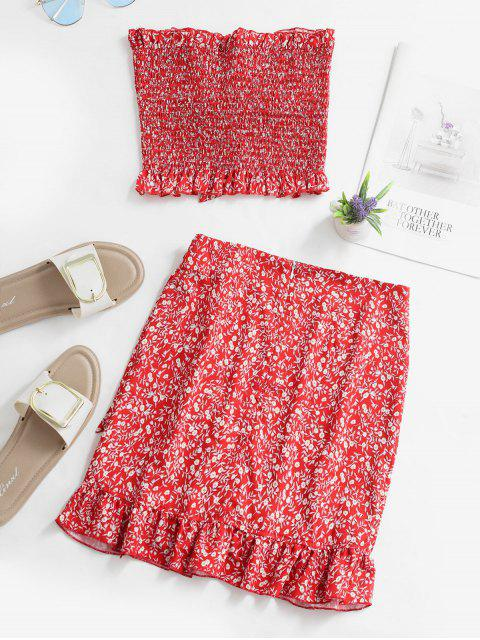 lady Floral Smocked Bandeau Top And Ruffles Skirt Set - RED L Mobile