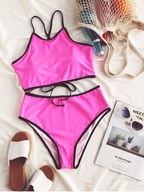 new ZAFUL Lace Up Neon Ringer Tankini Swimsuit - ROSE RED L Mobile