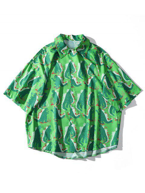 Chemise décontractée imprimée sur toute la plage de dinosaures - Bleu Vert XL Mobile