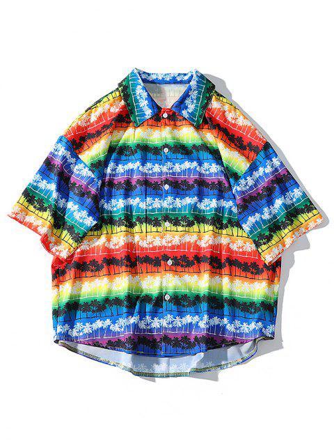 Chemise de plage Hawaii à motif de palmiers arc-en-ciel - Fantastique L Mobile