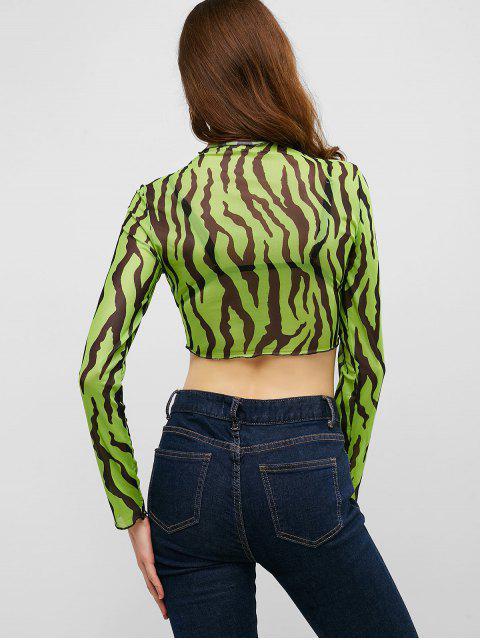 Camiseta corta transparente de neón de malla con estampado de cebra - Verde de Pistacho S Mobile