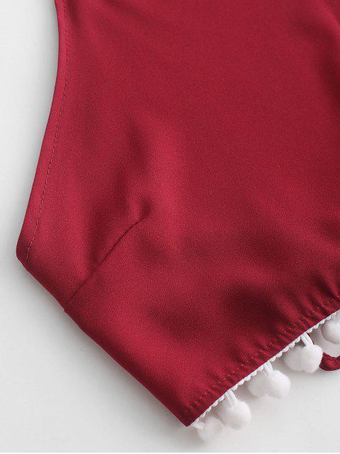 Ensemble de Short à Taille Haute Ourlet à Pompon à Col Halter - Rouge Vineux XL Mobile