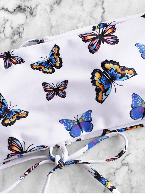 ZAFUL Maillot de Bain Bikini Bandeau Papillon Imprimé à Lacets - Multi-A S Mobile
