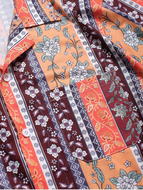 ZAFUL Chemise à fleurs avec poches à revers - Multi L Mobile