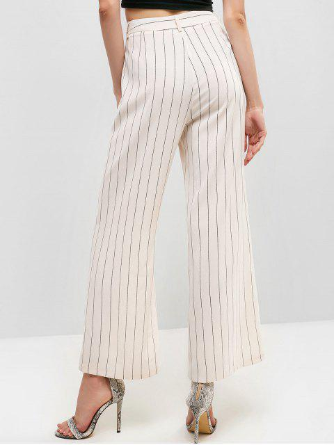 ZAFUL Striped Zipper Fly Pocket pantalones de pierna ancha - Blanco Cálido M Mobile