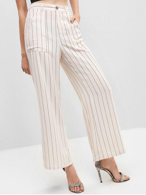 ZAFUL Striped Zipper Fly Pocket pantalones de pierna ancha - Blanco Cálido S Mobile